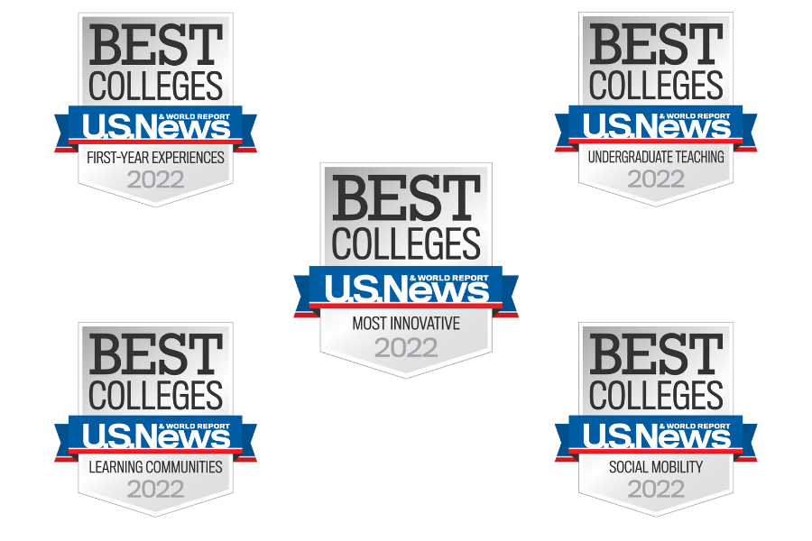 Five U.S. News & World Report Banner shape a rectangle with Most Innovative banner in the middle.