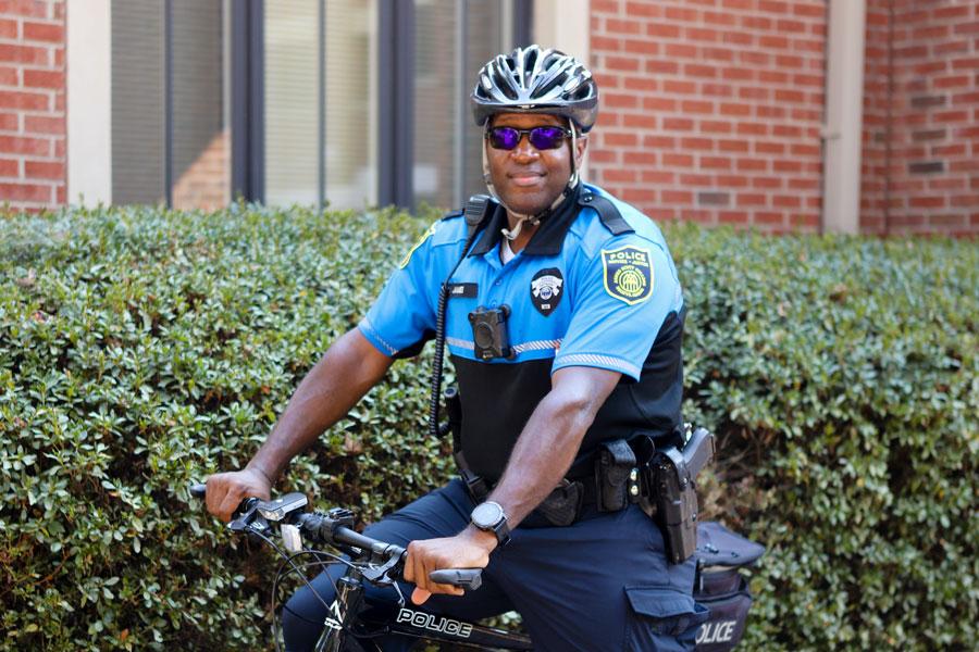 A public safety officer on a bike.