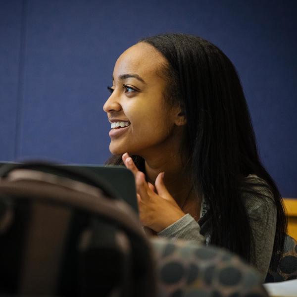 Happy student listening