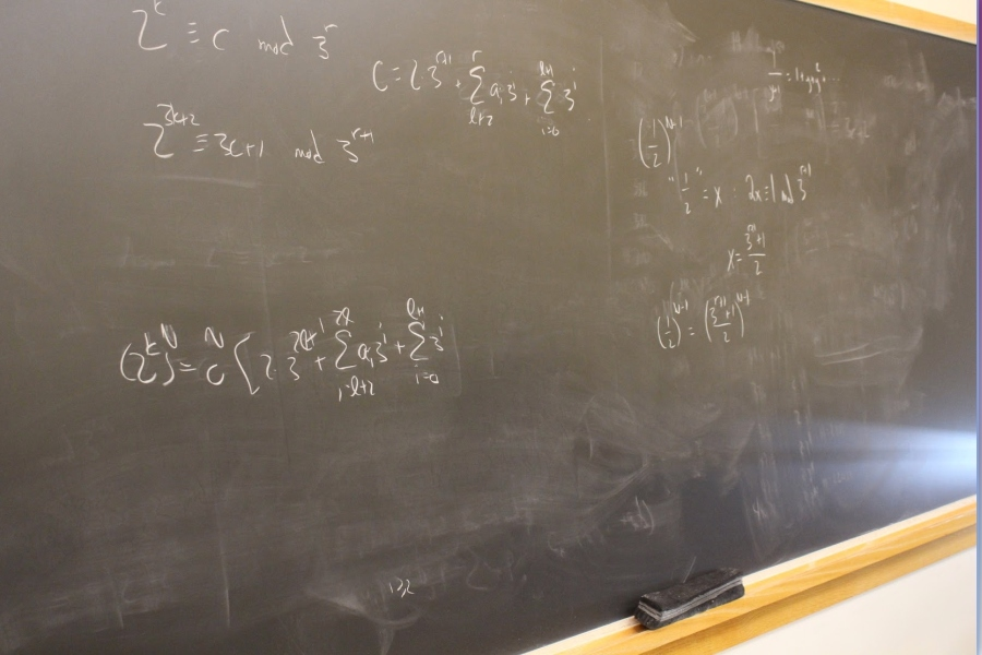 Chalkboard with scientific equations