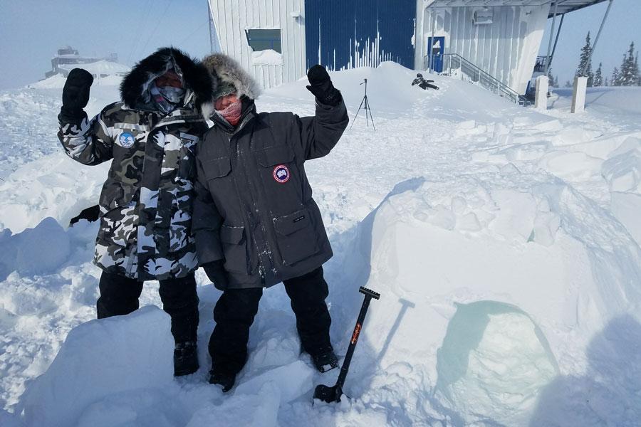 two women in a blizzard
