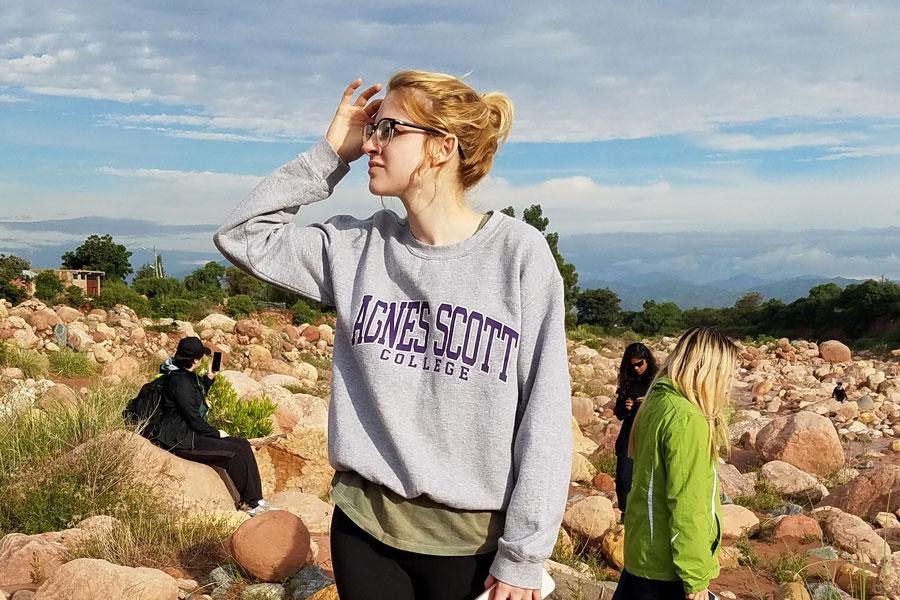 woman in a field of rocks