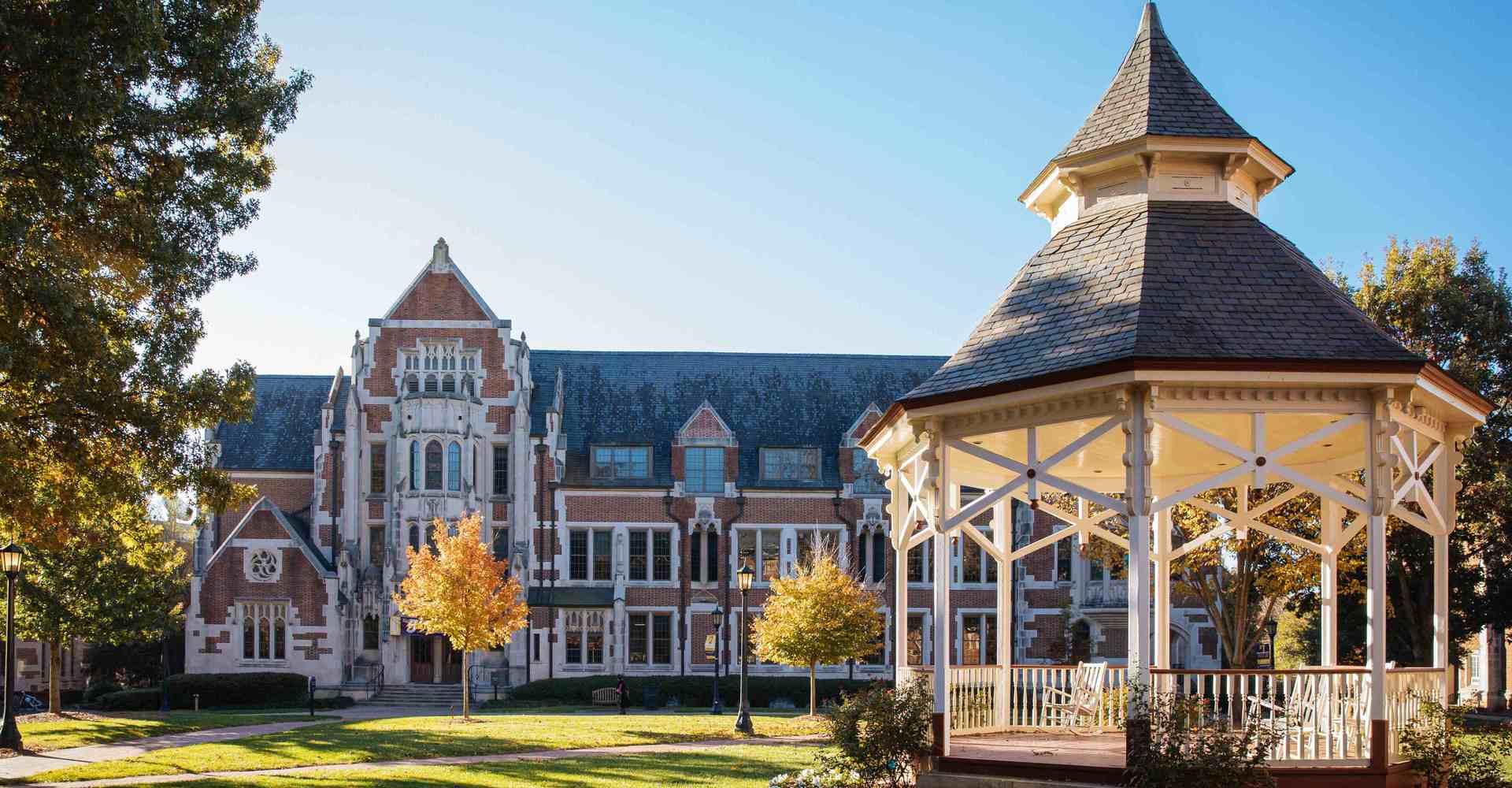 exterior photo of Agnes Scott campus including a gazebo