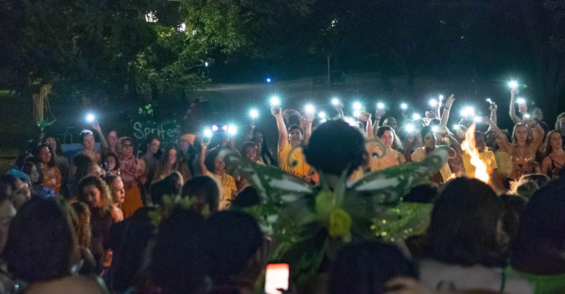 female students with Hawaiian leis