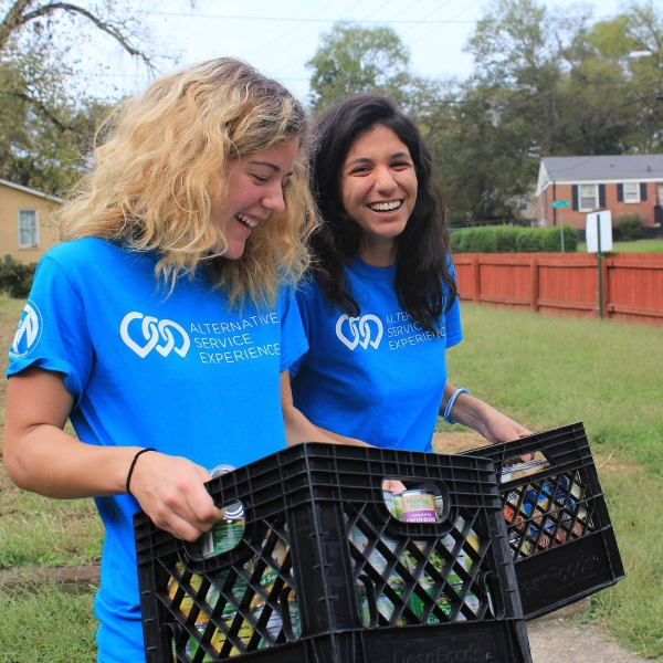 Students participating in community service.