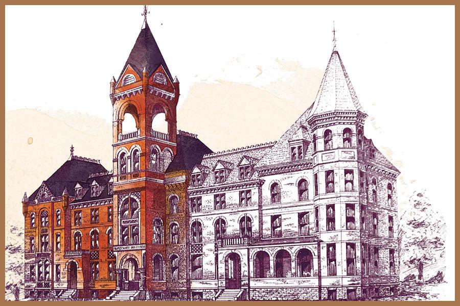 Hand-drawn illustration of Old Main