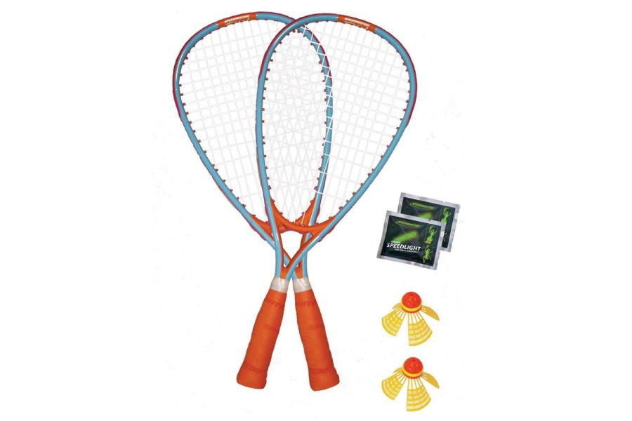 two speedminton rackets and birdies
