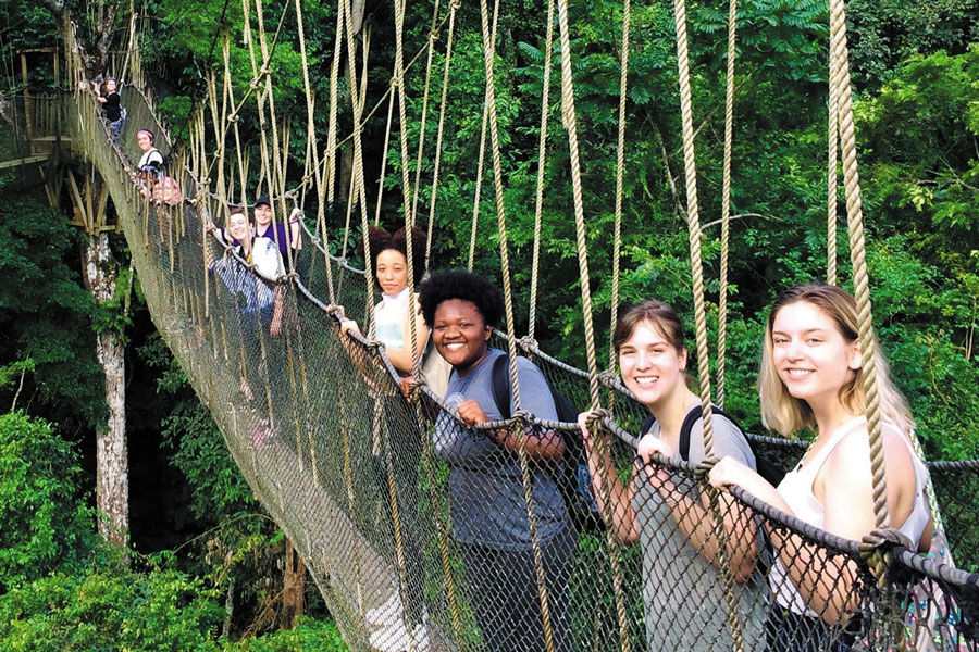 A group of students post for a photo on a rope bridge.